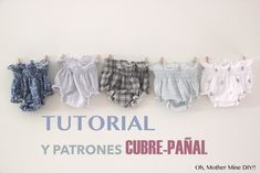 DIY Tutorial y patrones gratis: BRAGUITAS CUBRE-PAÑAL Sewing Baby Clothes, Baby Clothes Patterns, Baby Sewing, Baby Patterns, Clothing Patterns, Doll Clothes, Crochet Flower Patterns, Baby On The Way, Cool Baby Stuff