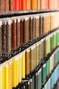 I was in a bead store yesterday and these tiny beads in tubes made for a really colorful shot. I wanted to take more, but didn't want to get yelled at :) Bead Storage, Craft Room Storage, Craft Organization, Jewellery Storage, Atelier Creation, Bead Studio, Perler Beads, Organized Mom, Bead Shop
