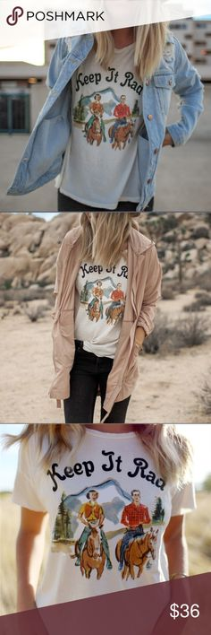 🦋CUTE COWGIRL T-SHIRT ✅ Price Firm ✅ Cute throwback cowgirl t-shirt. Vintage white with soft colored print. Size medium. True to size. Last photo is the actual item. Long sleeve not available at this time ❤️ Tops Tees - Short Sleeve