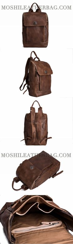 Handmade Vintage Style Vegetable Tanned Leather Backpack Rucksack School Backpack 9026
