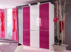 Drehtürenschrank STARLIGHT GIRL in Weiß Matt, Lack Weiß und Lack Pink: 3-türig, ca. 150 x 222 x 62 cm, mit Aufbaustrahlern und Kristallband
