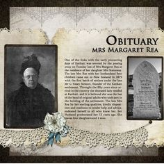 Family History/ Genealogy Scrapbooking -- Obituary, Mrs. Margaret Rea...simple page with great use of heritage photos and genealogical information. by Shylagirl1