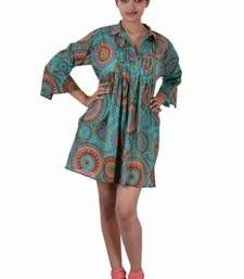 Buy Cotton Printed C.Green Color  Dress top online