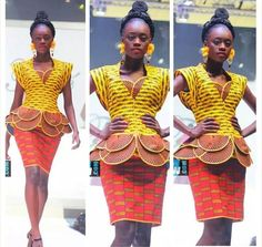 Peplum top with beautiful african fabric African Wear, African Attire, African Women, African Dress, African Tops, African Outfits, African Clothes, Trendy Ankara Styles, Ankara Gown Styles
