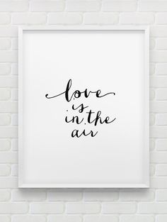 printable 'love is in the air' wall art // instant download print // printable romantic wall decor // minimalistic print // love print