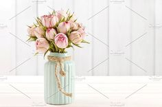 Bouquet of pink roses Photos Birthday postcard: bouquet of pink roses in turquoise ceramic vase by AgnesKantaruk Nature Photography Tips, Birthday Postcards, Landscaping Images, Rose Photos, Pink Birthday, Business Illustration, Rose Bouquet, Business Card Logo, Ceramic Vase