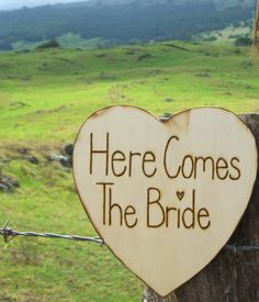 """""""Here Comes the Bride"""" Wood  Sign  $18"""