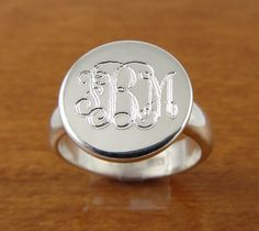 "Monogram ring, Initial Ring, Personalized Ring, Engraved ring. This monogram ring is hand crafted of sterling silver. The band is a heavy 4 1/2 mm wide with a 1/2"" or (8mm) diameter monogram plate on top. This monogrammed ring has a great traditional look and makes an excellent bridesmaids gift."