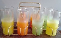 Summertime Frosted Glasses and Caddy Mid Century. $30.00, via Etsy.