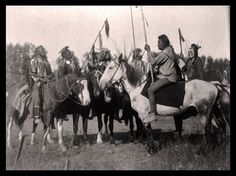 """Crow Indians, War attire, Native Americans, Horses, Weapons, 24""""x18"""" Photo"""