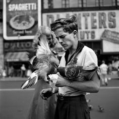 Pigeon boy, New York City, c.1940s. Photo by Vivian Maier.