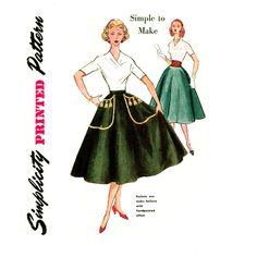 1950s Circle Skirt Pattern Waist 24 Simplicity 4301 by CynicalGirl, $18.00