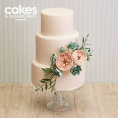 Wedding cake tutorial with succulents and old English roses, sugar flowers inspired by David Austin roses for the Summer 2015 issue of Cakes & Sugarcraft magazine