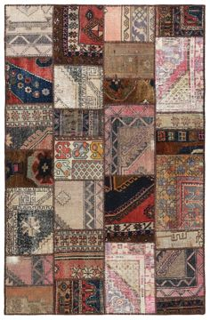 86x55 Inches wool Rug Patchwork Carpets Multi Color Vintage Turkish Rugs