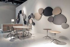 Decorative acoustic panel system designed with the aim to absorb noise. Satellite panels coming in 4 different sizes & shapes with a wide range of colours.