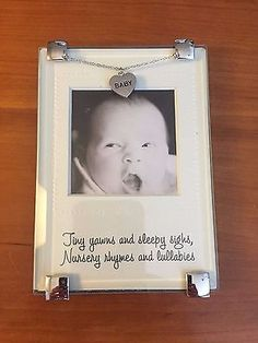 "New Baby Picture Frame With Heart Charm Holds 2.25"" x 2.25"" Photo - Glass - http://baby.goshoppins.com/announcements-keepsakes/new-baby-picture-frame-with-heart-charm-holds-2-25-x-2-25-photo-glass/"