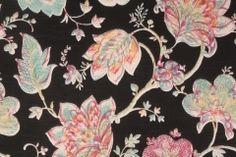 Richloom Jubilant Floral Printed Cotton Drapery Fabric in Black $3.95 per yard