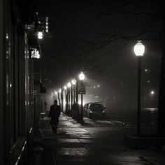 BW photo by Brian Day. I love this one, it's so film noir. Film Noir Photography, Night Street Photography, City Photography, Chiaroscuro Photography, Film Noir Fotografie, Night Film, Photography Essentials, Black And White City, Dark City