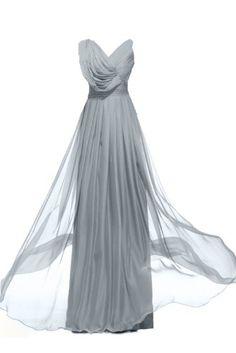 Sunvary 2013 Elegant V Neckline Empire Waist Floor Length Chiffon Evening Dresses Bridesmaid Dresses with Pleats - US Size 2-Silver Sunvary http://www.amazon.com/dp/B00BMH6VGW/ref=cm_sw_r_pi_dp_Eaasub0MEZX0Y