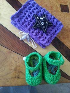 scarpette baby & porta uncinetti all'uncinetto
