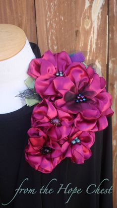 Fabric Flower Brooch Dress Lapel Pin by FromTheHopeChestShop -- hand crafted, hand sewn flowers and beads  $45