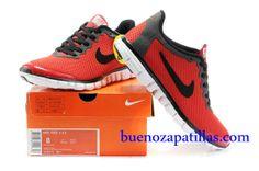 Hombre Nike Free 3.0 V2 Zapatillas (color : vamp - rojo , en el interior y logotipo - negro ; sole - blanco)
