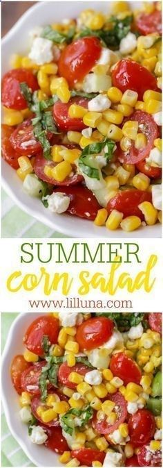 Summer Corn Salad - a light, flavorful salad filled with corn, tomatoes, feta, basil and cucumber. Its perfect for BBQs and will be a hit at any party! Summer Recipes, New Recipes, Vegetarian Recipes, Cooking Recipes, Healthy Recipes, Party Recipes, Recipes Dinner, Vegetarian Cooking, Snacks
