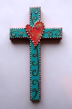 One of a kind hand painted wood cross with by CrossMyArtByLynnWebb, $20.00
