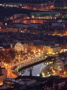 Bilbao at Twilight, Basque Country, photo