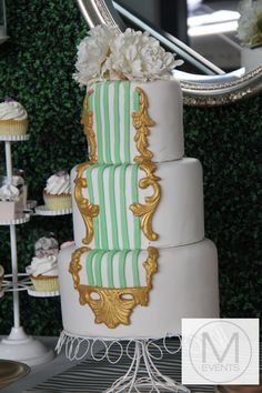 Vintage inspired gold ,white and lime 3 tier cake. Great for weddings,birthdays,vintage kitchen teas.For more information regarding your next event contact info@meventssydney.com.au