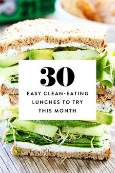 Easy Clean-Eating Lunches to Try This Month We're making it easy: Here are 30 clean-eating lunches to whip up this month.We're making it easy: Here are 30 clean-eating lunches to whip up this month. Clean Eating Recipes, Healthy Eating, Healthy Recipes, Clean Eating Lunches, Clean Foods, Clean Diet, Healthy Food, Quick Healthy Lunch, Clean Eating Meal Plan