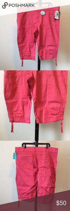 "NWT 16W 18W 22W Medium just below waist capris Adjustable drawstring hems. 4 pockets. Relaxed fit. Color: Raspberry sorbet. 17"" in-seam. Side-back elastic waistband. asonnixa Lee Pants Capris"