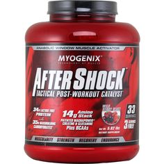 Myogenix AfterShock Wild Berry 5.82 lbs | Regular Price: $106.88, Sale Price: TOO LOW TO SHOW! | OvernightSupplements.com | #onSale #supplements #specials #Myogenix #PostWorkout  | ANABOLIC WINDOW THE KEY TO UNLIMITED MUSCLE GROWTHthe anabolic window in a 30 minute period of time immediately post exercise when your body is primed for muscle growth if given the proper nutrients AfterShock contains these vital nutrients absolutely critical for muscle growth glycogen replenishme