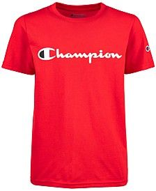 Champion Big Boys Logo-Print T-Shirt - Scarlet Toddler Boy Fashion, Little Boy Fashion, Toddler Girl Outfits, Toddler Boys, Boy Outfits, Swag Outfits, Toddler Chores, Nike Outfits, Teen Fashion
