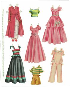 paper dolls to cut out and color | ... cut set. Some clothes without dolls on the last page. Incomplete set