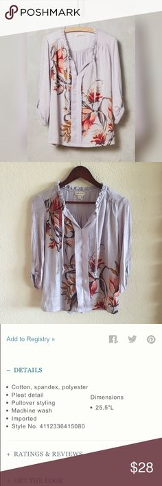 """{ Anthropologie } Evella Blouse by Meadow Rue I bought this new with tags and wore it once. Excellent/like new condition. Bust measures 19"""" across, length 24"""". Button down. Anthropologie Tops Blouses"""