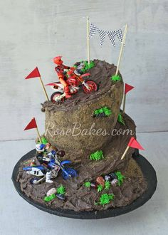 Wonky Dirt Bike Racing Cake
