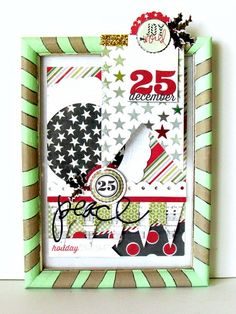 Frame made with the #epiphanycrafts Shape Studio Tool Round 25 available at #MichaelsStores www.epiphanycrafts.com #scrapbook #layout #Christmas #heidiswapp