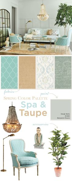 Benjamin Moore Sleigh Bells 1480 Spring color palette of spa and taupe