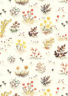Jenny Lumelsky. #flora #nature #peach #yellow #brown #green #pattern