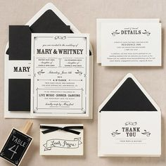 Bistro Wedding Invitation suite - Mary & Whitney- like this layout, classy with a bit of modern.  Not too formal :)
