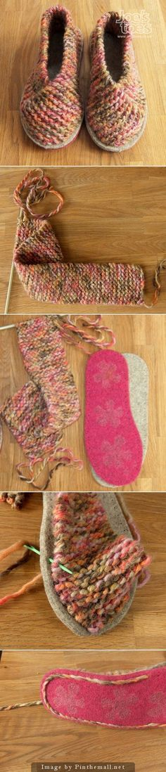 "Knitting_Tutorial - ""How to make Knitted Garter Stitch Slippers. This looks fast, simple and fun! Knitted Slippers, Crochet Slippers, Knit Or Crochet, Crochet Crafts, Knitting Projects, Crochet Projects, Crochet Tutorials, Loom Knitting, Knitting Socks"