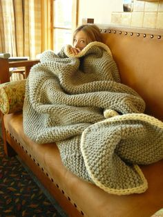 Knit Garter Stitch Blanket in Sheepsdown by Elizabeth Zimmermann