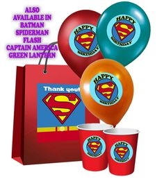 PRINTABLE Superhero Logo Happy Birthday Art Sticker Label Tags, Superman Party Set, by OurSecretPlace, $5.49  Make a big SPLASH with little $$$ at your Superhero Themed Birthday Party by printing your own party favors, balloon labels, cup labels, tags, and gift bag labels. They work on buckets, boxes, bags, or print on card stock and make cupcake toppers, gift tags, decorations, use for scrapbooking, etc. Get creative!