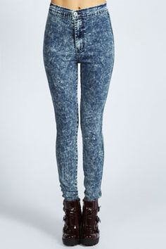Heidi Acid Wash High Rise Skinny Jeans