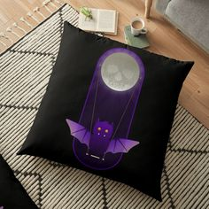 'Barry The Bat Swings From Skull Moon' Floor Pillow by LunchboxPrint Pillow Design, Sell Your Art, Floor Pillows, Skull, Moon, Flooring, Art Prints, Printed, Awesome
