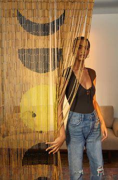 Moon Phase Bamboo Beaded Curtain p i n t e r e s t Beaded Curtains Doorway, Bamboo Beaded Curtains, Doorway Curtain, Diy Curtains, Kitchen Curtains, Bead Curtains For Doors, Curtain Closet, String Curtains, Cortinas Boho