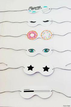 FREE printable sleeping masks for pajama party invitations - use as party invites! Sleepover Party, Pajama Party Kids, Pajama Day, Pj Party, Slumber Parties, Party Time, Pyjama-party Kinder, Birthday Invitations Kids, Party Invitations