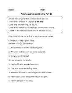 This fun articles worksheet directs the student to circle the article in each given sentence. Efl Teaching, Teaching English, Sentence Writing, Grammar Worksheets, Parts Of Speech, Vowel Sounds, Learning Resources, Sentences, Food Fantasy