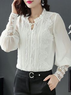 Women S Shoes European Sizes Code: 226142143 Cute Blouses, Blouses For Women, Women's Blouses, Casual Skirt Outfits, Casual Dresses, Blouse Styles, Blouse Designs, Beige Outfit, Mode Chic